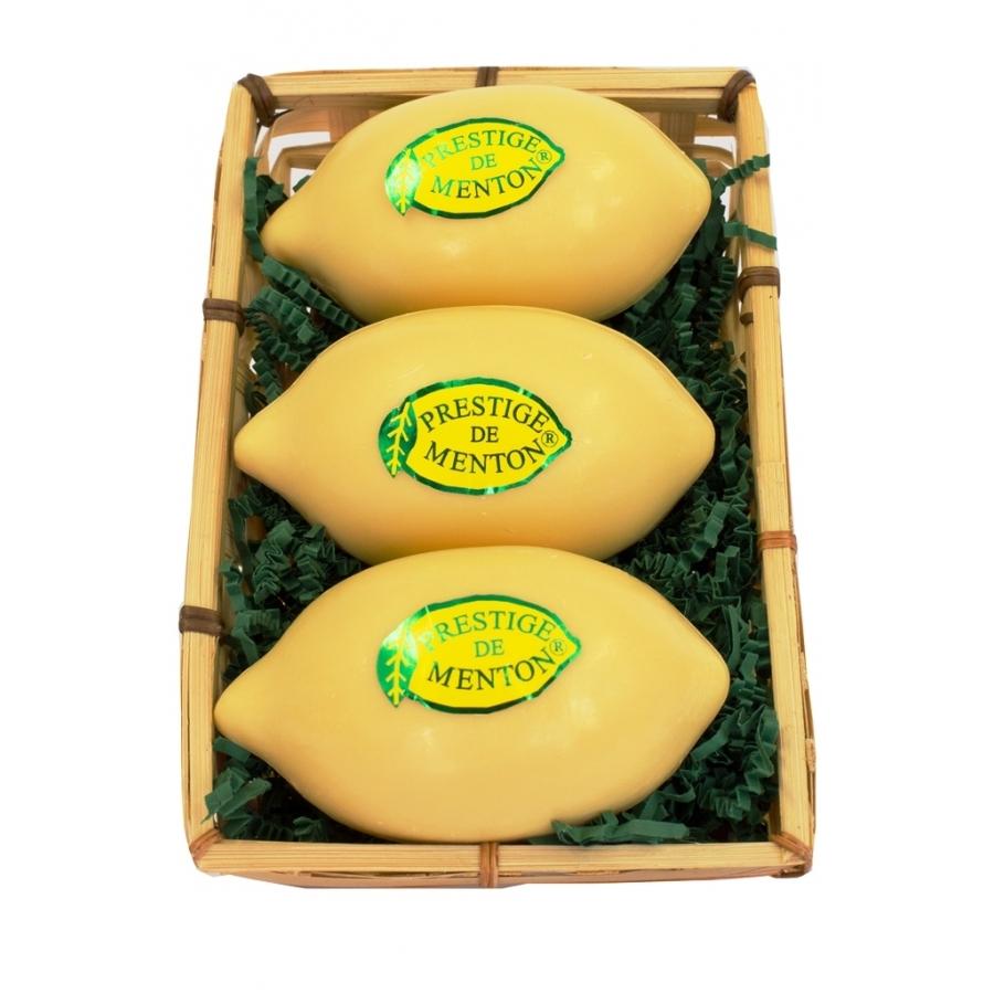 Panier 3 savons Citron jaune 150g