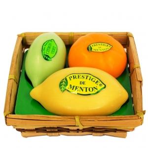 Panier 3 savons: Citron jaune 100g, Mandarine 75g, Citron vert 50g